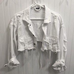 LF CARMAR White Cropped Distressed Denim Jacket